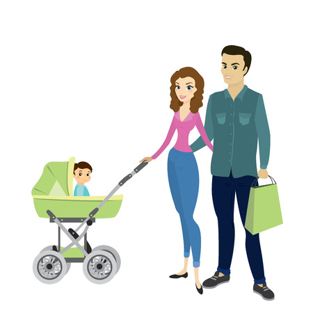 Family couple and a child in a pram,cartoon vector illustration isolated on white background