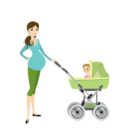 Jolie jeune femme enceinte avec un landau et un bébé Banque d'images - 86935849