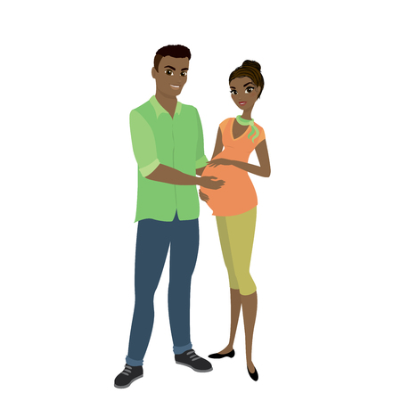 married couple,african american cute man and a pretty pregnant woman,isolated on white background,cartoon vector illustration