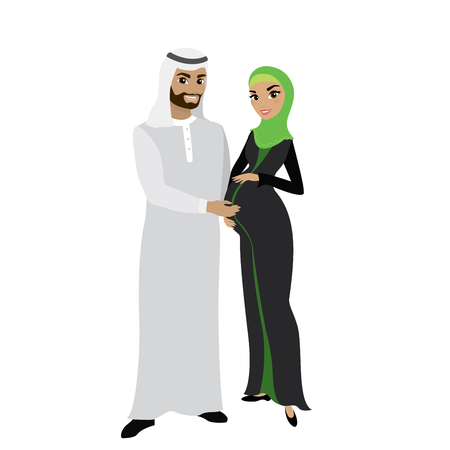 Muslim family couple in traditional clothes, woman is pregnant, isolated on white background, cartoon vector illustration