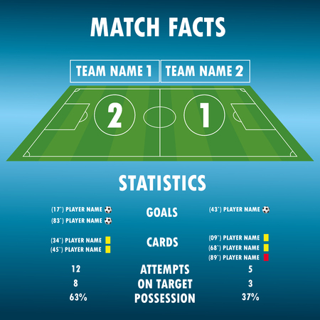 Football Soccer Match Statistics. Scoreboard and play field.Digital background , stock vector illustration. Infographic.