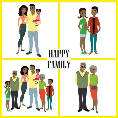 guy standing: Happy African American family- parents,their son and daughters, and grandparents. Cartoon Vector illustration isolated on white background