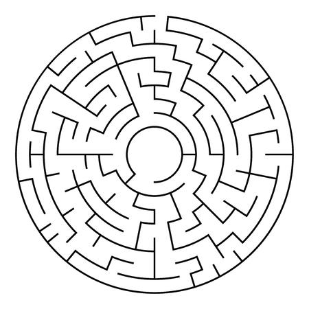 Circular maze black ,isolated on a white background,vector illustration