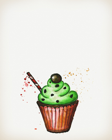 blueberry muffin: Watercolor cake drawn on a sheet of paper, hand drawing, template with a place for text, for banners, posters, invitations, cards. Stock Photo