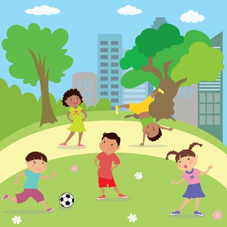niños diferentes razas: Niños jugando en el parque, los niños y las niñas diferentes razas, ilustración vectorial de dibujos animados Vectores