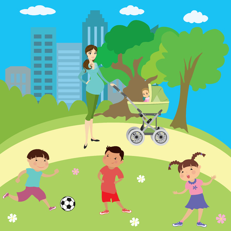 Children playing in park,boys and girls,Pregnant woman walking with a baby stroller,cartoon vector illustration Illustration