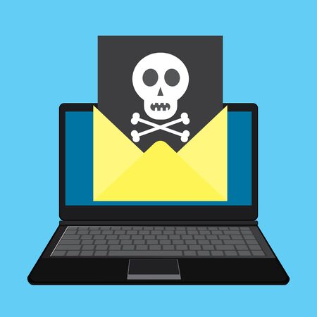 communication cartoon: Laptop and envelope with black document and skull icon. Virus, malware, email fraud, e-mail spam, phishing scam or hacker attack concept.Cartoon vector illustration