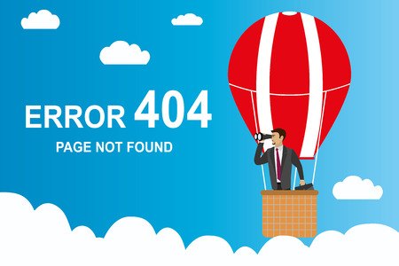 error 404 page and Businessman with binoculars in a hot air balloon,stock cartoon vector illustration