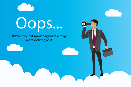 Oops error page and Businessman with binoculars on clouds,stock cartoon vector illustration