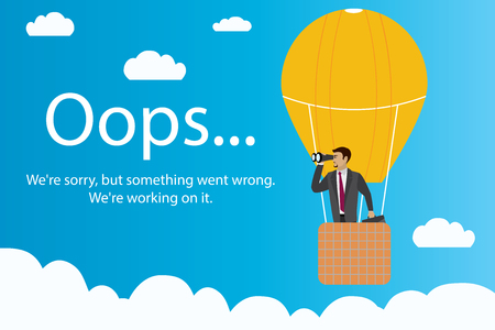 Oops error page and Businessman with binoculars in a hot air balloon,stock cartoon vector illustration Illustration