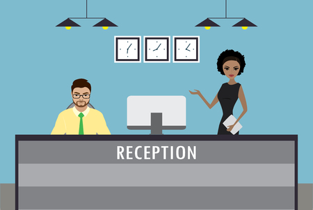 Man sitting and Young african american woman stands at reception desk. Vector illustration,flat vector illustration
