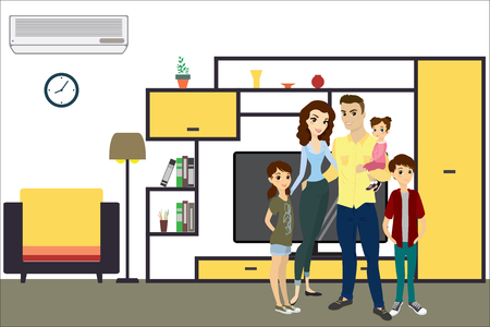 Cartoon  living room interior design with furniture and beauty young family,flat vector illustration. Illustration