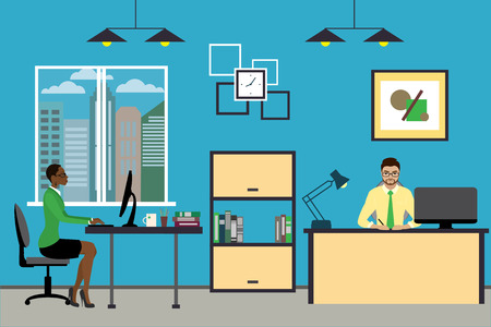 Cartoon business people working at home or modern office, interior design with furniture,flat vector illustration.