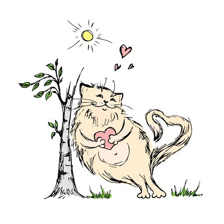 old fashioned: Cute cat with heart near tree,hand drawn vector illustration