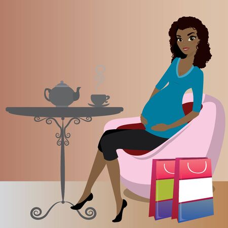 Cute african american pregnant lady after shopping is drinking coffee,vector illustration Illustration