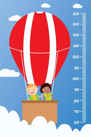 Kids height chart,Smiling children fly in a hot air balloon, cartoon vector illustration.