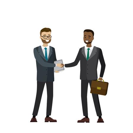 握手、白い背景で隔離の多文化ビジネス人々 漫画のベクトル図  イラスト・ベクター素材