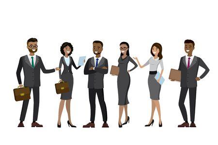 アタッシュ ケースとペーパーを保持している多文化ビジネス人々 のセットです。