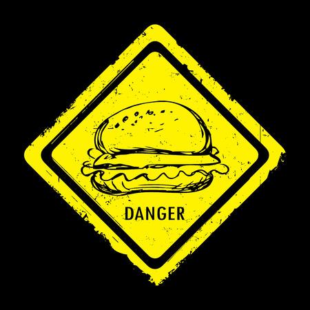 imminence: Etiqueta vintage de peligro hamburguesa. Dibujado a mano, ilustración vectorial.
