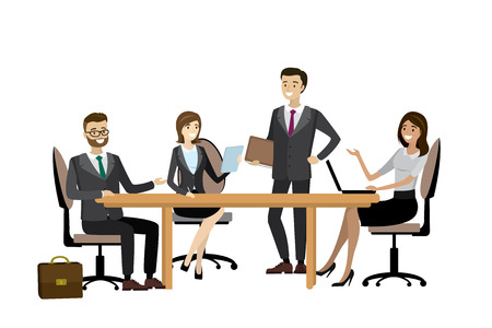 Group of working people, businessmen and businesswomen isolated on white background, business team brainstorming together,people characters.Cartoon vector design