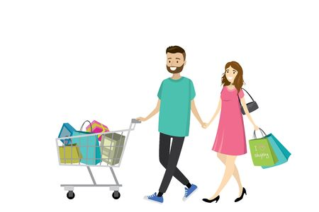 mujer en el supermercado: Feliz amor pareja con bolsas de compras. Gran descuento en la tienda. Diseño plano, ilustración vectorial de dibujos animados Vectores