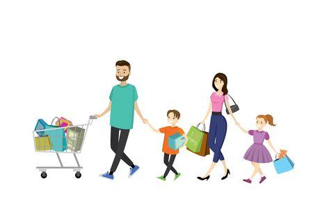 mujer en el supermercado: Happy family with shopping bags. Big discount in store. Flat design ,cartoon vector illustration Foto de archivo