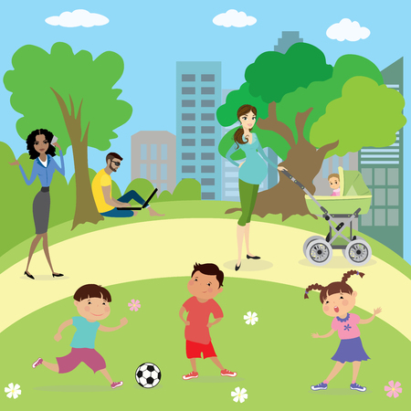 girl laptop: People and kids  in park ,cartoon vector illustration