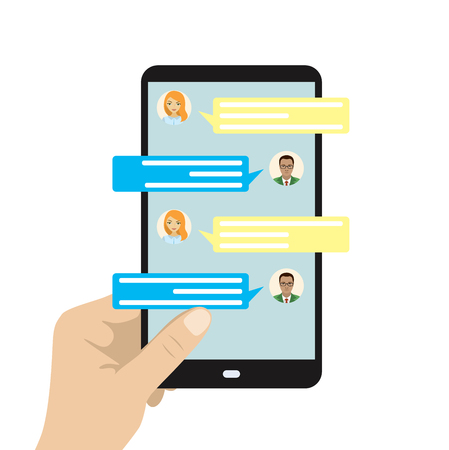 Chatting on phone, online conversation with texting message. Messaging using cell phone, illustration of screen with messaging, flat design concept, vector 向量圖像