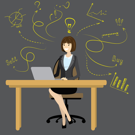 girl laptop: Business woman or office worker sitting at the computer,finance idea concept with doodle signs,cartoon vector illustration Illustration