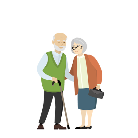 Couple of older people. Grandmother and grandfather isolated on white background.Cartoon Vector illustration Иллюстрация
