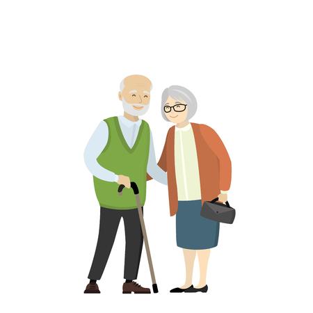 Een paar oudere mensen. Grootmoeder en grootvader geïsoleerd op een witte achtergrond. Cartoon vectorillustratie