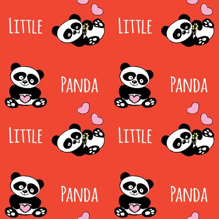 Modèle sans couture avec petit panda, mignon ours dessiné à la main sur fond rouge, illustration vectorielle