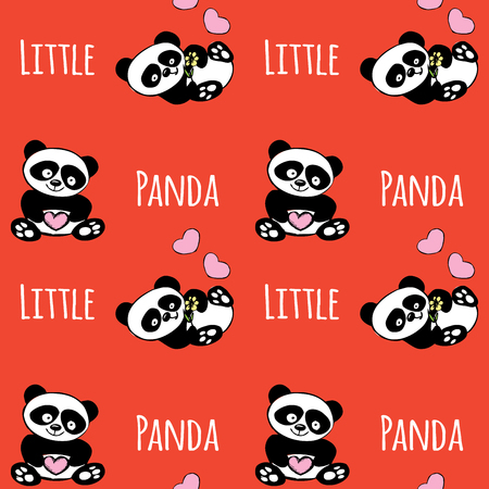 Patrón sin fisuras con panda poco, oso dibujado mano linda sobre fondo rojo, ilustración vectorial