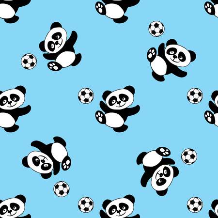 Seamless pattern with panda play soccer,bear with ball,hand drawn vector illustration Çizim
