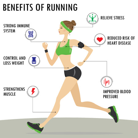 Woman Running Vector Illustration. Benefits of Jogging Exercise