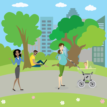 girl laptop: Different people in park,cartoon vector illustration Illustration