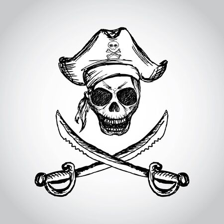 pirate skull with hat and crossed swords, hand drawing, vector