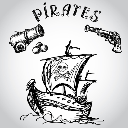 Collection of hand-drawn pirates design elements, vector Illustration