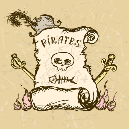 Collection of hand-drawn pirates design elements, vector 일러스트