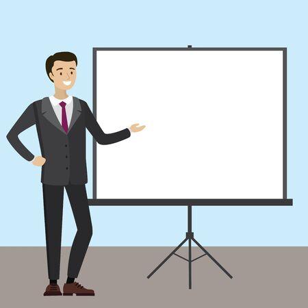 Businessman with projector screen . Presentation concept. Cartoon Vector design.