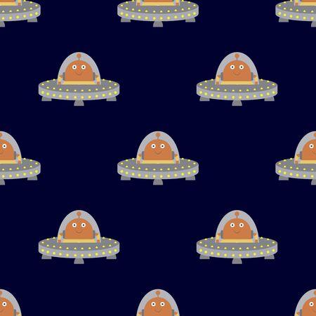 Robot or ufo in spaceship seamless  pattern,funny cartoon vector illustration Illustration
