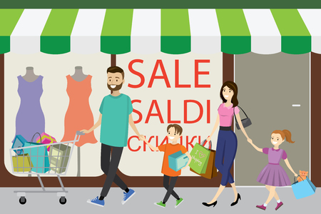 Happy family with shopping bags. Big discount in store. Flat design, cartoon vector illustration.