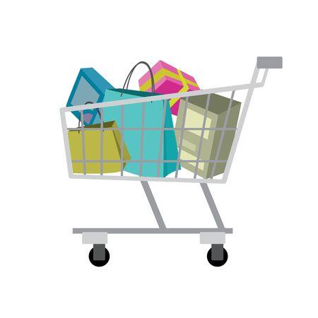 Shopping trolley, isolated on white background,cartoon flat vector illustration Illustration