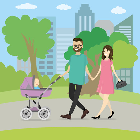 Happy young family with a baby carriage walking in park Illustration