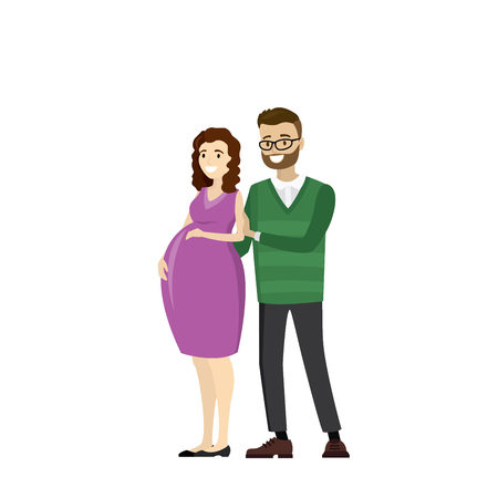 Happy pregnant love couple. Illustration