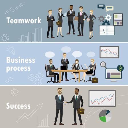Business banner three themes teamwork, business team, success cartoon vector illustration
