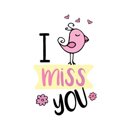 I miss you, cute design with doodle bird,isolated on white backg Stock Illustratie
