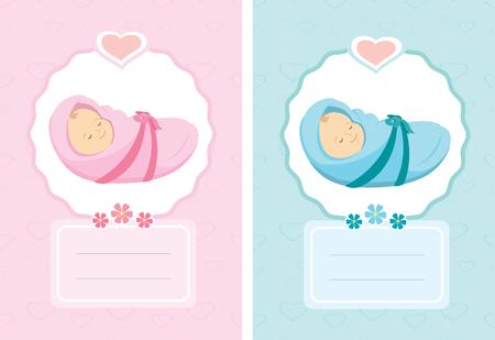 Cartoon new born card Illustration