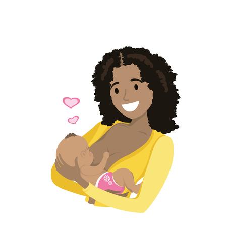 彼女のかわいい赤ちゃんの母乳育児を母親します。  イラスト・ベクター素材