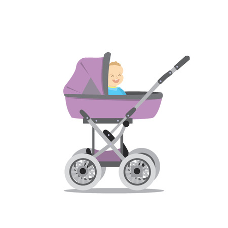 Pram with baby icon on white background, vector illustration. Çizim